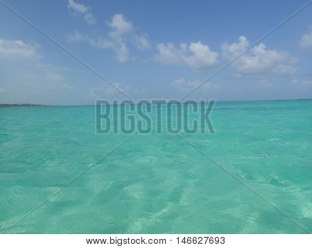 Crystal clear waters of the Caribbean sea