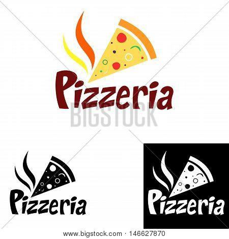 Pizzeria logo design in different color options