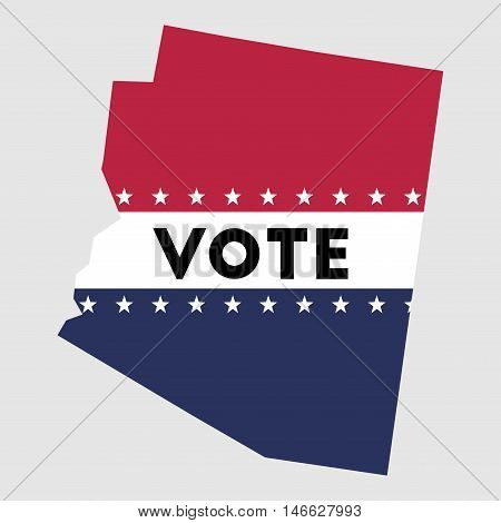 Vote Arizona State Map Outline. Patriotic Design Element To Encourage Voting In Presidential Electio