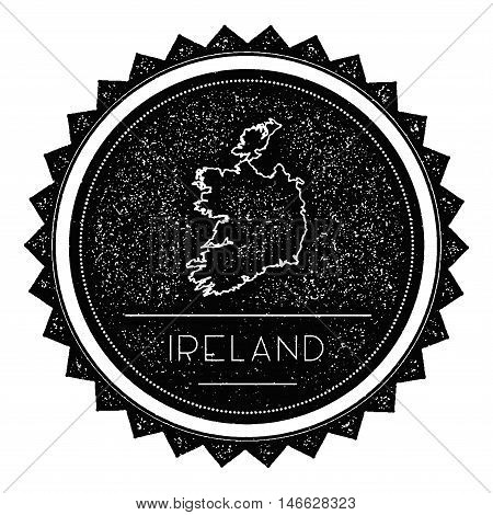 Ireland Map Label With Retro Vintage Styled Design. Hipster Grungy Ireland Map Insignia Vector Illus