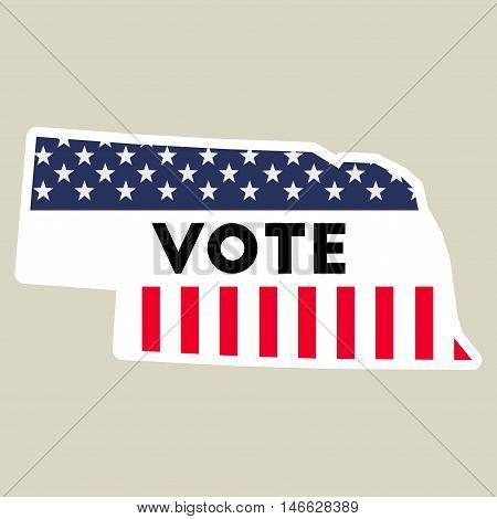 Usa Presidential Election 2016 Vote Sticker. Nebraska State Map Outline With Us Flag. Vote Sticker V