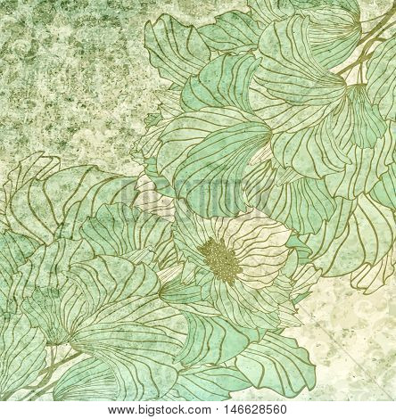 Vintage Green Background With Seamless Floral Ornament