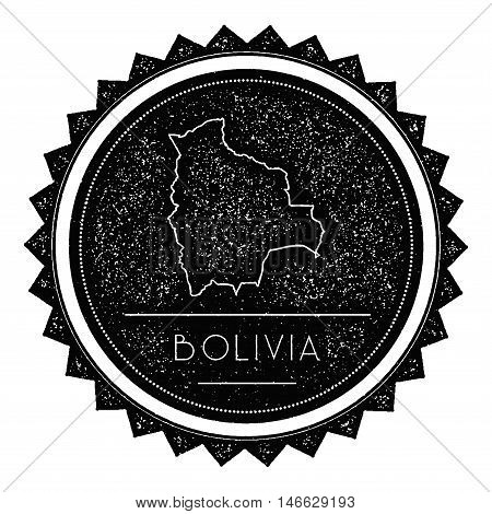 Bolivia Map Label With Retro Vintage Styled Design. Hipster Grungy Bolivia Map Insignia Vector Illus