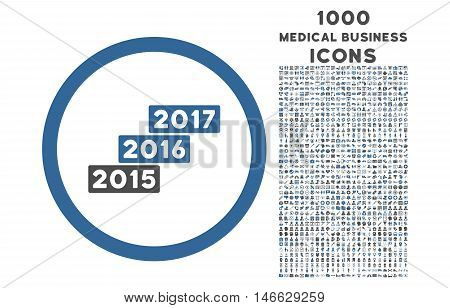 Years Stairs rounded vector bicolor icon with 1000 medical business icons. Set style is flat pictograms, cobalt and gray colors, white background.