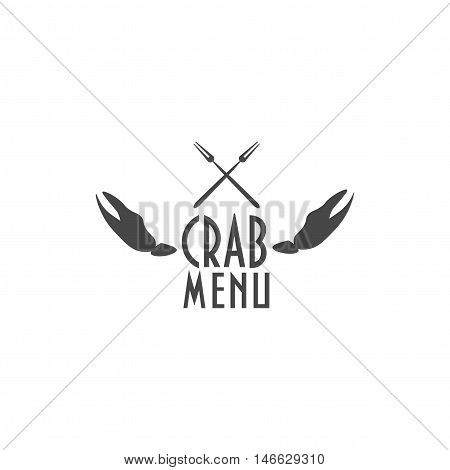 Crab menu text with a grey crab's claws and forks as a label.