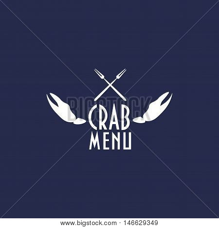 Vintage label with crab claws and two crab forks designed to use as seafood restaurant menu element, crab festival menu element, crab menu icon on your seafood site.