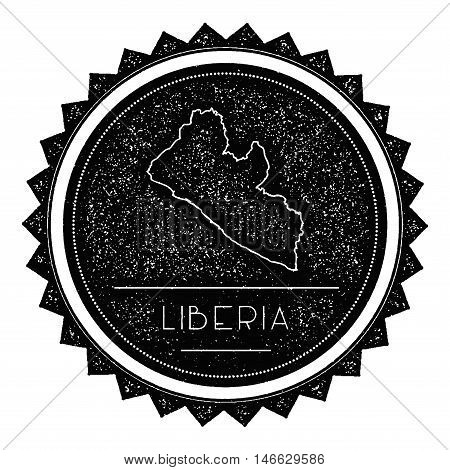 Liberia Map Label With Retro Vintage Styled Design. Hipster Grungy Liberia Map Insignia Vector Illus