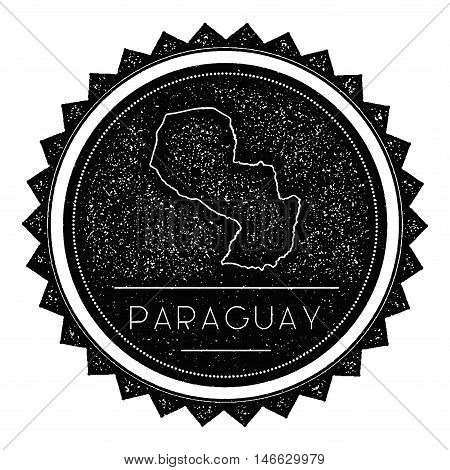 Paraguay Map Label With Retro Vintage Styled Design. Hipster Grungy Paraguay Map Insignia Vector Ill