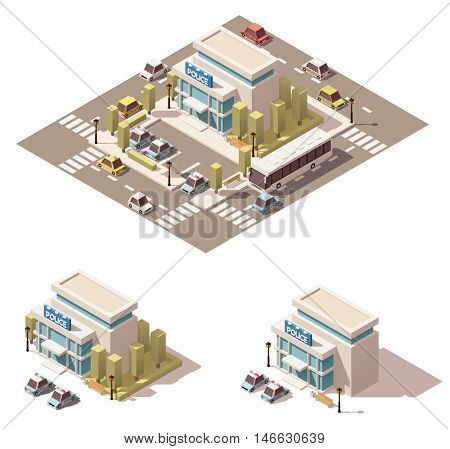 Vector isometric low poly city infographic element representing police department building