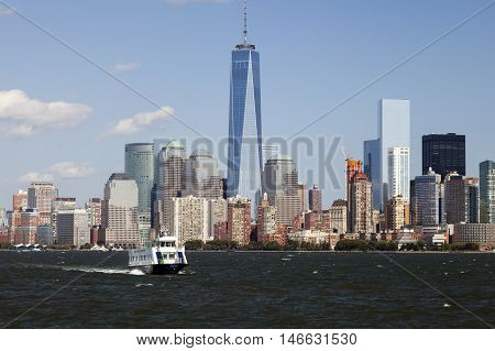 NEW YORK - OCTOBER 6: Freedom Tower in Lower Manhattan on October 6 2014. One World Trade Center is the tallest building in the Western Hemisphere and the third-tallest building in the world