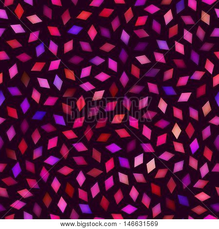Vector Seamless Multicolor Pink Purple Gradient Rhombus Jumble Pattern. Abstract Geometric Background Design
