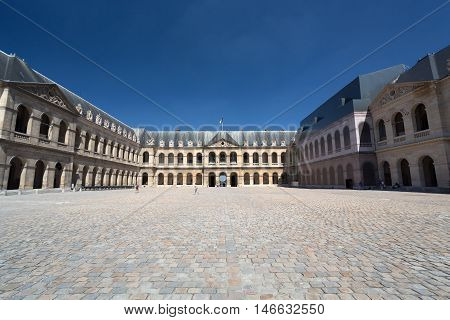 Paris France - August 15 2016 : National Residence of the Invalids a complex of buildings in the 7th arrondissement of Paris France containing museums and monuments