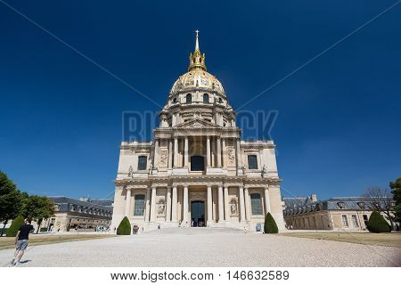 PARIS FRANCE - AUGUST 15 2016: View of Dome des Invalides burial site of Napoleon Bonaparte Paris France