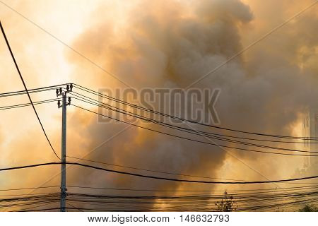 wildfire at side of road background and wallpaper