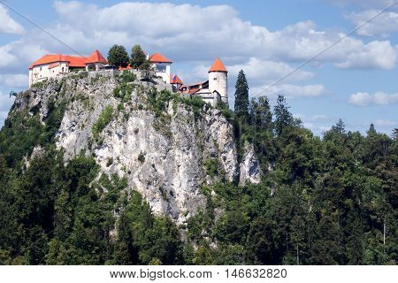 Bled Castle in Slovenia perched upon a steep cliff 130 metres above the lake.
