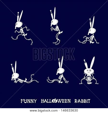 Set of halloween design elements: cute rabbit skeleton in cartoon style - running sitting or lying in funny poses isolated on dark blue background. Vector illustration