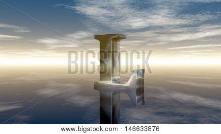 metal uppercase letter l under cloudy sky - 3d rendering