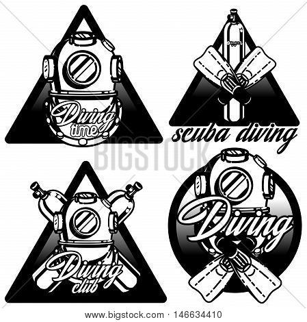 Diving labels set. Underwater swimming logos, emblems and designed elements. Sea dive, spearfishing, vector illustration