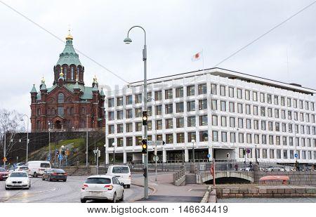 Helsinki, Finland - 21 December 2015: The Orthodox Cathedral In Helsinki Harbor
