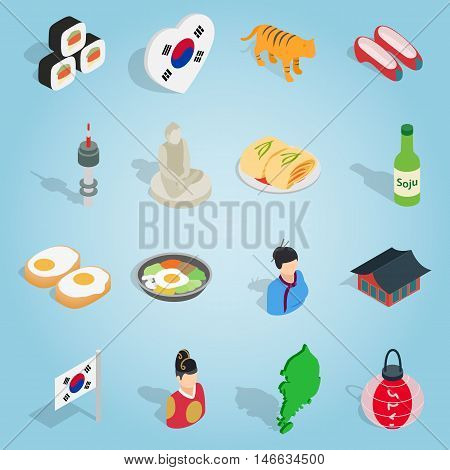 Isometric korea icons set. Universal korea icons to use for web and mobile UI, set of basic korea elements vector illustration