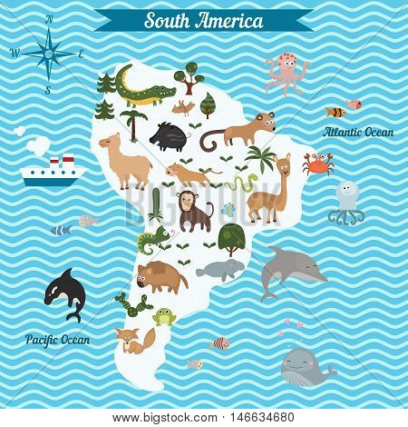 Cartoon map of South America continent with different animals. Colorful cartoon illustration for children and kids. South America mammals and sea life.