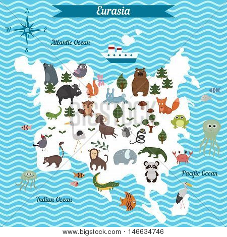 Cartoon map of Eurasia continent with different animals. Colorful cartoon illustration for children and kids. Eurasia mammals and sea life.