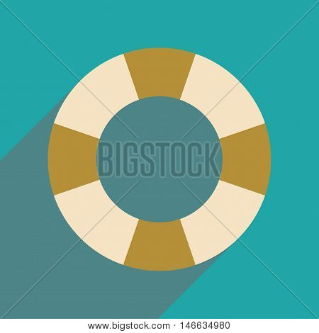 Flat web icon with long  shadow Lifebuoy