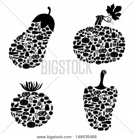 Vector illustrations of vegetables icon of vegetables set isolated on white background. Squash tomato eggplant and pepper