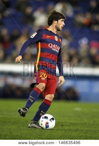 BARCELONA, SPAIN - JAN, 13: Sergi Roberto of FC Barcelona during a Spanish Kings Cup match against RCD Espanyol at the Power8 stadium on January 13, 2016 in Barcelona, Spain