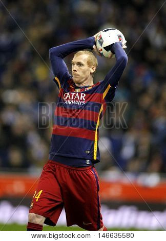 BARCELONA, SPAIN - JAN, 13: Jeremy Mathieu of FC Barcelona during a Spanish Kings Cup match against RCD Espanyol at the Power8 stadium on January 13, 2016 in Barcelona, Spain