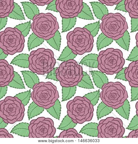 beautiful seamless pattern in roses and leaves lace. Hand-drawn contour lines and strokes. Perfect for background greeting cards and invitations of the wedding birthday Valentine's Day