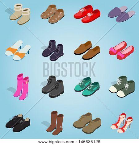 Isometric shoe set icons. Universal shoe icons to use for web and mobile UI, set of basic shoe elements vector illustration