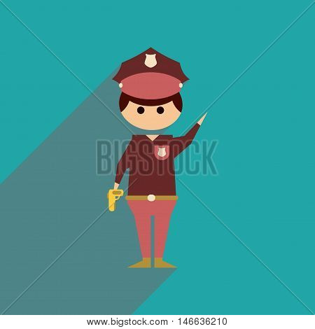 Flat web icon with long  shadow police officer