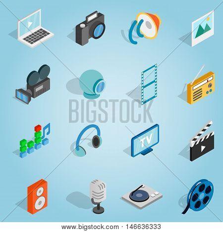 Isometric media set icons. Universal media icons to use for web and mobile UI, set of basic media elements vector illustration