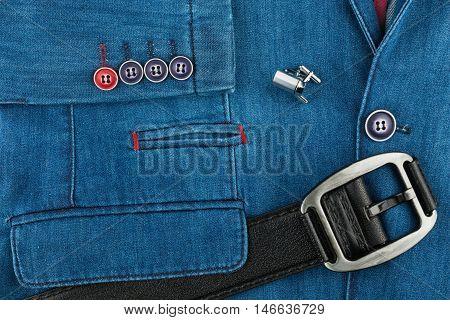 Denim suit black leather belt and cufflinks top view