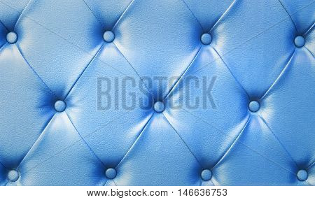 Backboard of color blue chesterfield sofa texture background