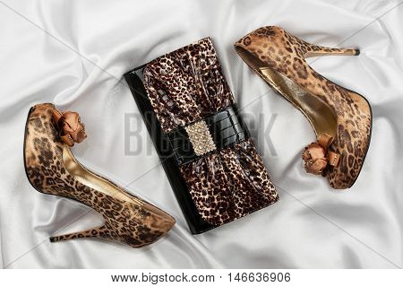 Leopard lacquer bag and leopard shoes on a white crumpled fabric
