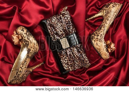 Leopard lacquer bag and leopard shoes on a red crumpled fabric