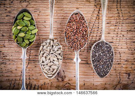 Healthy Superfood: Pumpkin Seeds, Sunflower Seeds, Flax Seeds And Chia