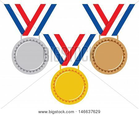 vector set of gold silver and bronze medals