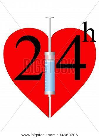 Spritze und Herz 24 H