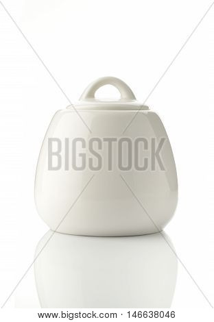 White Porcelain Jar with Lid Shot in Studio