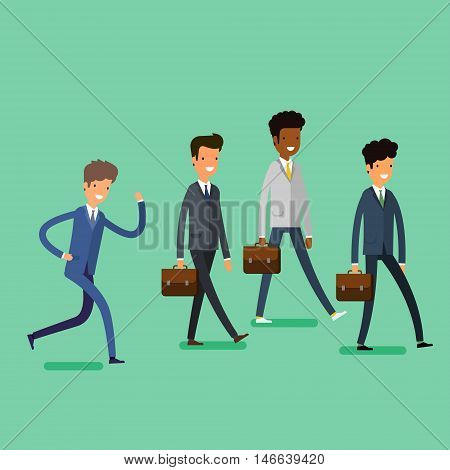 Business concept. Cartoon business people walking. Flat design, vector illustration
