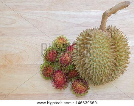 durian and rambutan are fruits in Thailand.