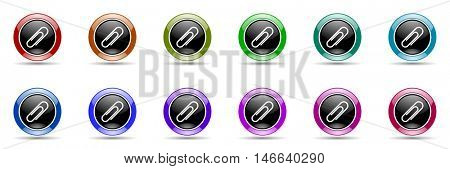 paperclip round glossy colorful web icon set