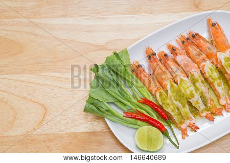shrimp steam with spicy lime sauce. delicious menu for meal time