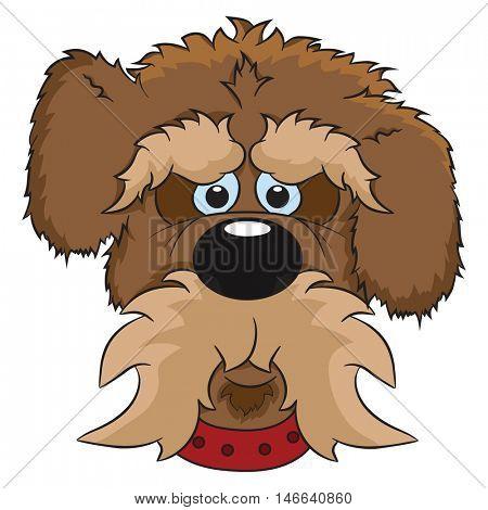 Illustration of portrait of cute cartoon dog. Animal isolated on white background.