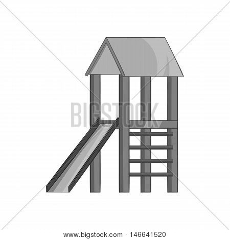 Playhouse with slide icon in black monochrome style on a white background vector illustration