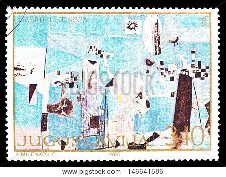 YUGOSLAVIA - CIRCA 1980 : Cancelled postage stamp printed by Yugoslavia, that shows painting by Gabrijel Stupica.