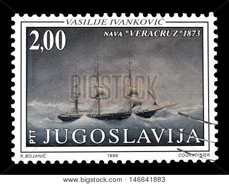 YUGOSLAVIA - CIRCA 1998 : Cancelled postage stamp printed by Yugoslavia, that shows painting by Vasilije Ivankovic.